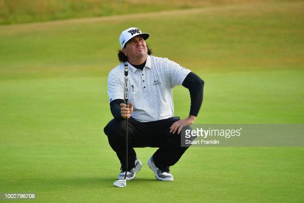 Pat Perez of the United States lines up a putt on the 15th green during the second round of the 147th Open Championship at Carnoustie Golf Club on...