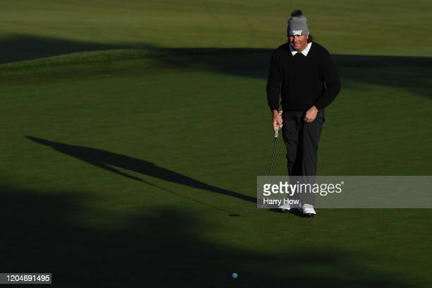 Pat Perez of the United States lines up a putt on the tenth green during the second round of the ATT Pebble Beach ProAm at Monterey Peninsula Country...