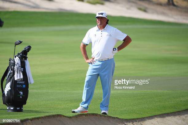 Pat Perez of the United States looks on from the fairway on the 3rd hole during day three of Omega Dubai Desert Classic at Emirates Golf Club on...