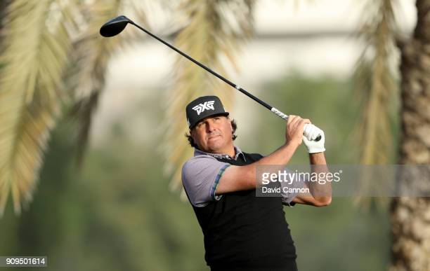 Pat Perez of the United States plays a shot during the proam as a preview for the Omega Dubai Desert Classic on the Majlis Cours at Emirates Golf...