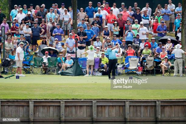 Pat Perez of the United States plays a shot on the 17th hole during the third round of THE PLAYERS Championship at the Stadium course at TPC Sawgrass...