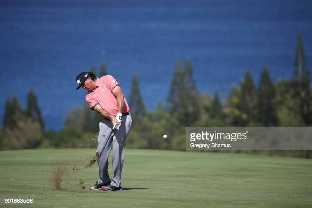 Pat Perez of the United States plays a shot on the fourth hole during the second round of the Sentry Tournament of Champions at Plantation Course at...