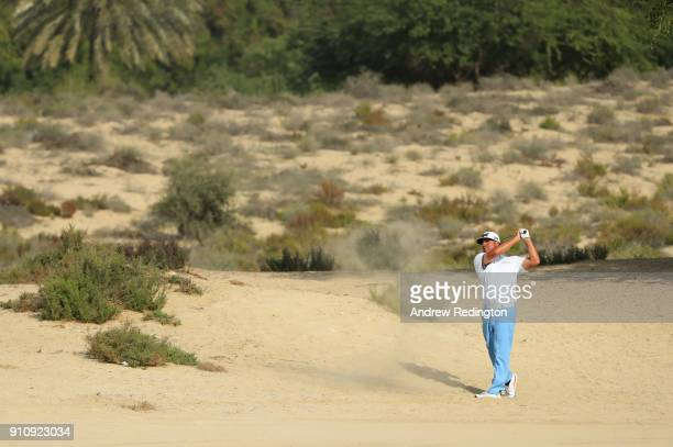 Pat Perez of the United States plays his second shot on the 8th hole during day three of Omega Dubai Desert Classic at Emirates Golf Club on January...