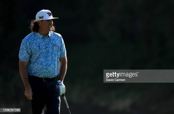 Pat Perez of the United States plays his second shot on the par 4 13th hole during the second round of the Genesis Invitational at The Riviera...