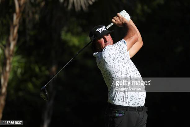 Pat Perez of the United States plays his shot from the 13th tee during the first round of the Mayakoba Golf Classic at El Camaleon Mayakoba Golf...