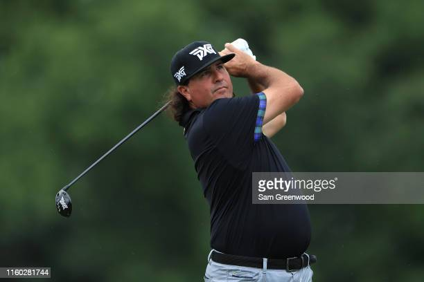 Pat Perez of the United States plays his shot from the 14th tee during the second round of the 3M Open at TPC Twin Cities on July 05 2019 in Blaine...