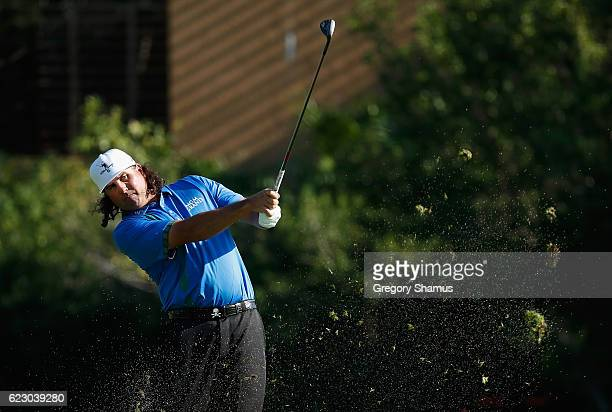 Pat Perez of the United States plays his shot from the 17th fairway during the final round of the OHL Classic at Mayakoba on November 13 2016 in...