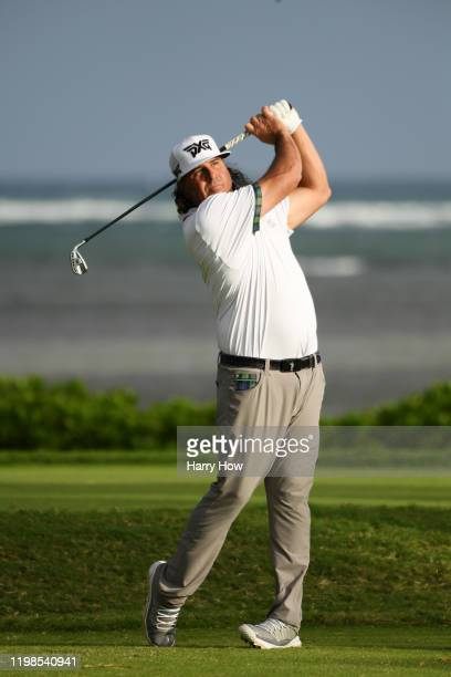 Pat Perez of the United States plays his shot from the 17th tee during the first round of the Sony Open in Hawaii at the Waialae Country Club on...