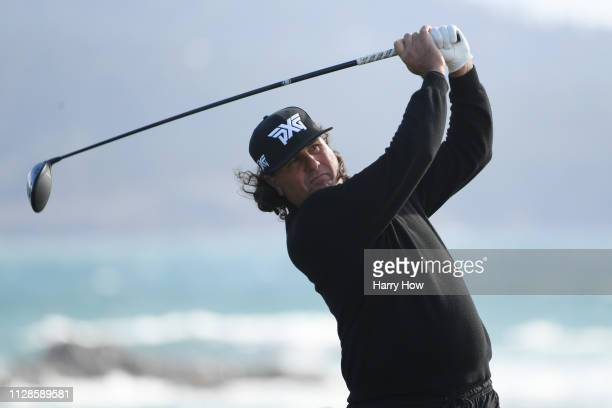 Pat Perez of the United States plays his shot from the 18th tee during the third round of the ATT Pebble Beach ProAm at Pebble Beach Golf Links on...