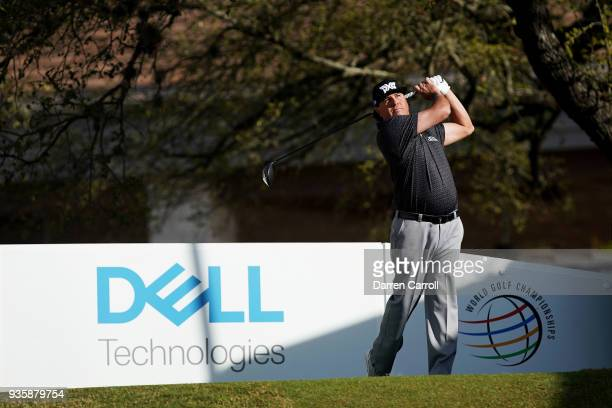 Pat Perez of the United States plays his shot from the first tee during the first round of the World Golf ChampionshipsDell Match Play at Austin...