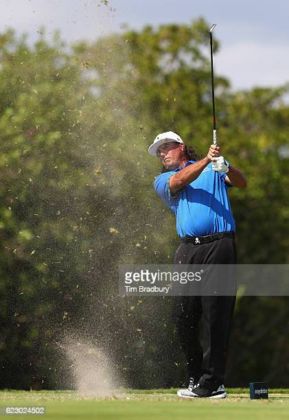 Pat Perez of the United States plays his shot from the fourth tee during the final round of the OHL Classic at Mayakoba on November 13 2016 in Playa...