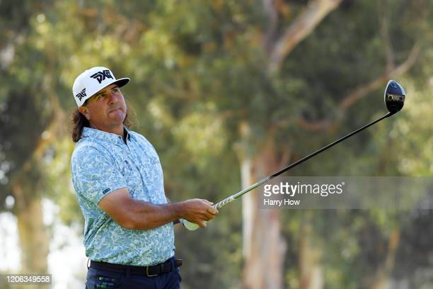 Pat Perez of the United States plays his shot from the ninth tee during the second round of the Genesis Invitational at Riviera Country Club on...