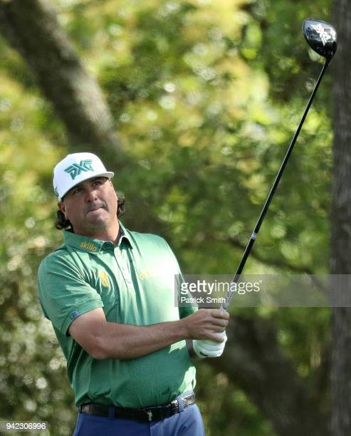 Pat Perez of the United States plays his shot from the second tee during the first round of the 2018 Masters Tournament at Augusta National Golf Club...