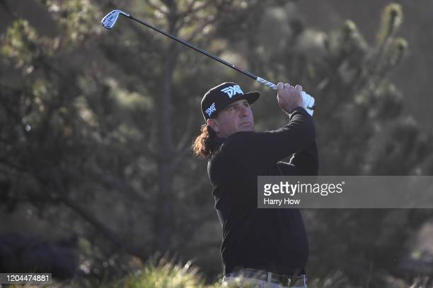 Pat Perez of the United States plays his shot from the third tee during the during the first round of the ATT Pebble Beach ProAm at Spyglass Hill...