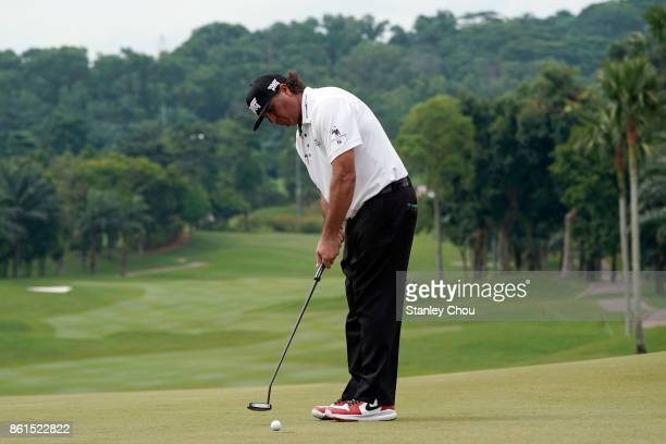 Pat Perez of the United States putts on the 18th hole after the final round of the 2017 CIMB Classic at TPC Kuala Lumpur on October 15 2017 in Kuala...