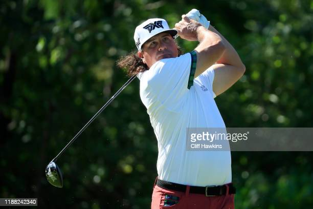 Pat Perez of the United States watches his drive on the seventh hole during the third round of the Mayakoba Golf Classic at El Camaleon Mayakoba Golf...