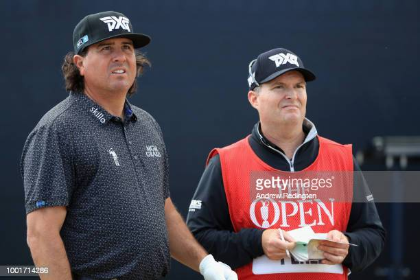 Pat Perez of the United States with his caddie Michael Hartford on the 16th hole during the first round of the 147th Open Championship at Carnoustie...