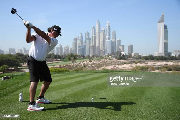Pat Perez of the USA on the 8th tee during a practice round prior to the Omega Dubai Desert Classic at Emirates Golf Club on January 23 2018 in Dubai...