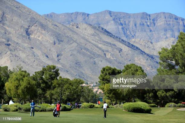 Pat Perez plays a shot on the first hole during the final round of the Shriners Hospitals for Children Open at TPC Summerlin on October 6 2019 in Las...
