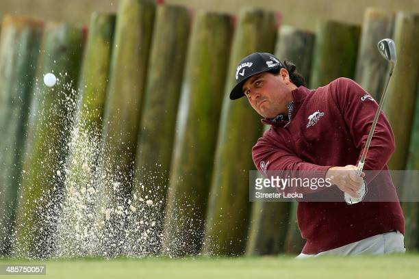 Pat Perez plays a shot out of the bunker on the 17th hole during the final round of the RBC Heritage at Harbour Town Golf Links on April 20 2014 in...