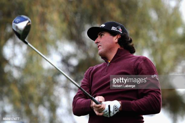 Pat Perez plays a tee shot on the 3rd hole during the first round of the Waste Management Phoenix Open at TPC Scottsdale on January 30 2014 in...