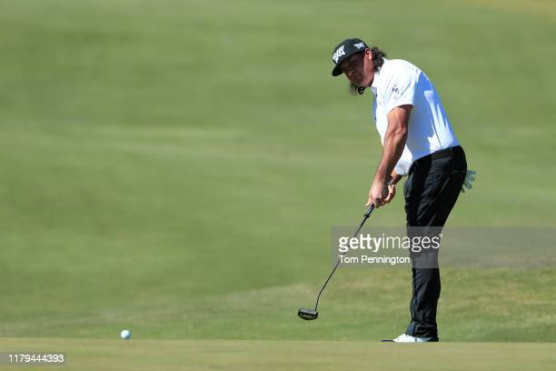 Pat Perez putts on the first green during the final round of the Shriners Hospitals for Children Open at TPC Summerlin on October 6 2019 in Las Vegas...