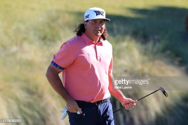 Pat Perez reacts after a putt on the 18th green during the third round of the Shriners Hospitals for Children Open at TPC Summerlin on October 5 2019...
