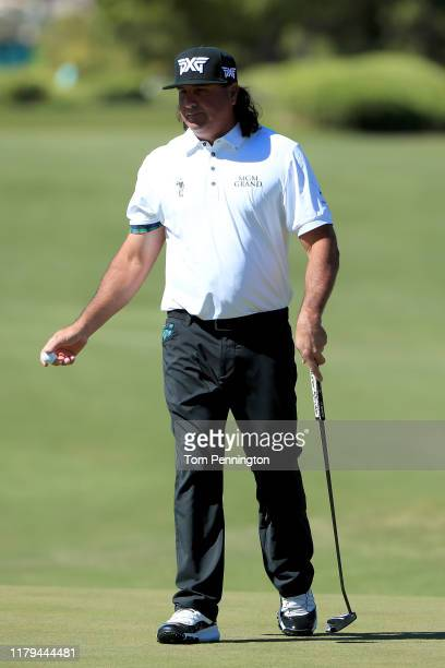 Pat Perez reacts to a putt on the first green during the final round of the Shriners Hospitals for Children Open at TPC Summerlin on October 6 2019...