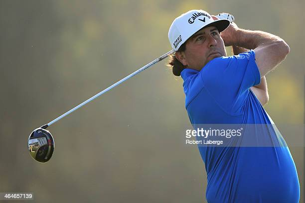 Pat Perez tees off on the 12th hole during the first round of the Farmers Insurance Open on Torrey Pines South on January 23 2014 in La Jolla...