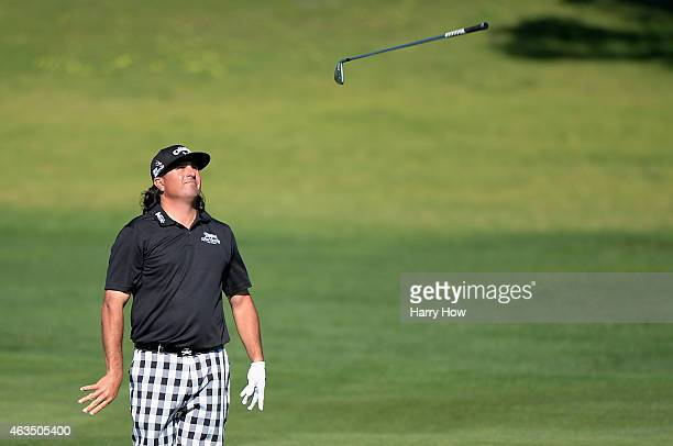 Pat Perez tosses a golf club on the second hole during the final round of the ATT Pebble Beach National ProAm at the Pebble Beach Golf Links on...