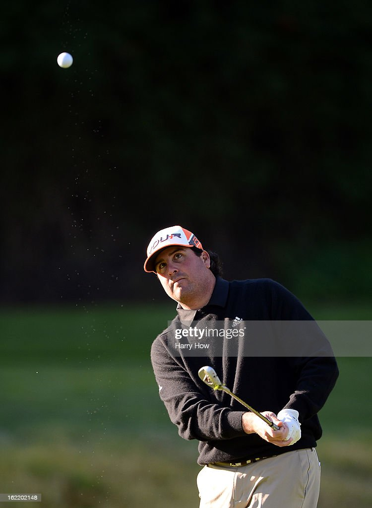 Pat Perez watches his chip on the seventh hole during the first round of the Northern Trust Open at the Riviera Country Club on February 14, 2013 in Pacific Palisades, California.