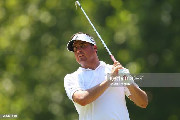 Pat Perez watches his tee shot on the seventh hole during the third round of the 89th PGA Championship at the Southern Hills Country Club on August...