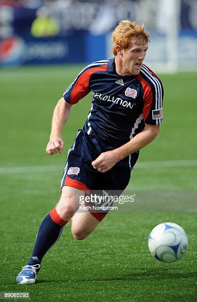 Pat Phelan of the New England Revolution looks to pass during MLS match against the Kansas City Wizards on July 11 2009 at Gillette Stadium in...