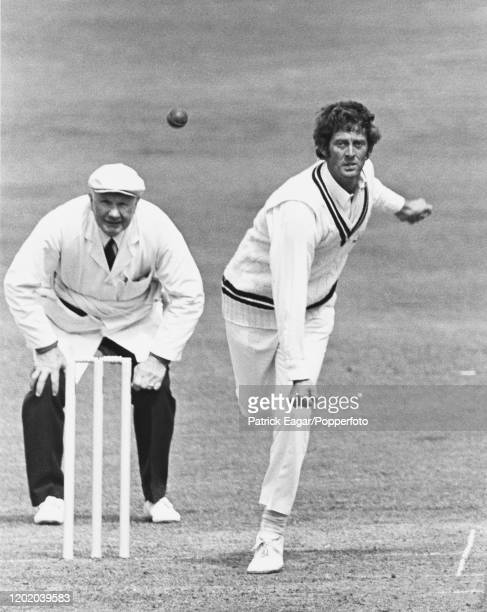 Pat Pocock bowling for Surrey during the Benson & Hedges Cup match between Sussex and Surrey at Hove, 27th April 1974. The umpire is John Langridge....