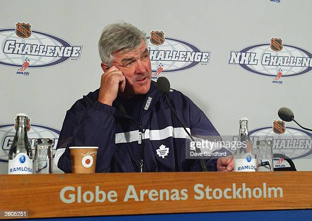 Pat Quinn head coach of the Toronto Maple Leafs speaks at a press conference following practice part of the NHL Challenge 2003 in Stockholm Sweden