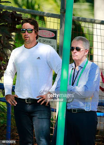 Pat Rafter and Craig Tiley CEO Tennis Australia look on from courtside as Nick Kyrgios of Australia reacts in his match against Aleksandr Nedovyesov...