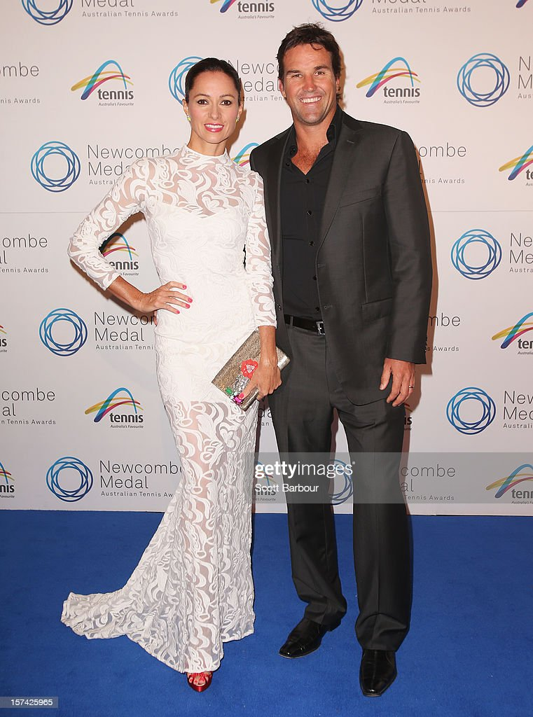 Pat Rafter and his wife Lara Feltham arrive ahead of the 2012 John Newcombe Medal at Crown Palladium on December 3, 2012 in Melbourne, Australia.