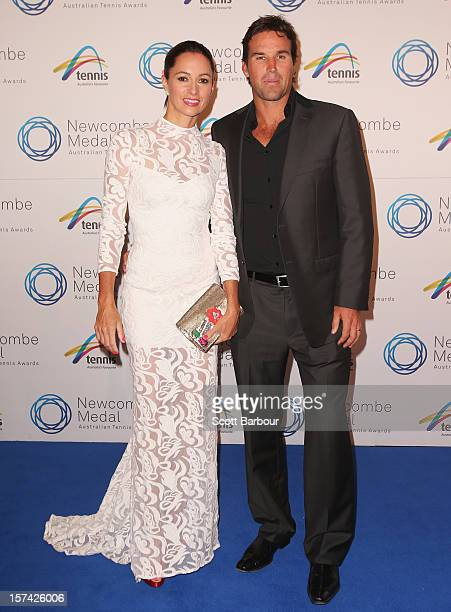 Pat Rafter and his wife Lara Feltham arrive ahead of the 2012 John Newcombe Medal at Crown Palladium on December 3 2012 in Melbourne Australia