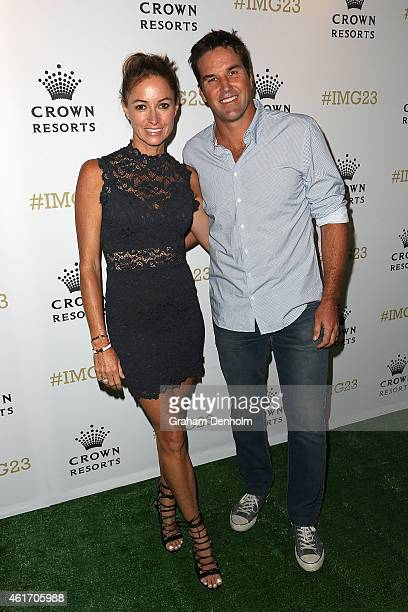 Pat Rafter and his wife Lara Feltham arrive for Crown's IMG@23 Tennis Players' Party at Crown Entertainment Complex on January 18 2015 in Melbourne...