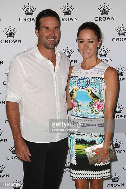 Pat Rafter and his wife Lara Feltham pose as they arrive at the IMG tennis players party at Crown Towers on January 12 2014 in Melbourne Australia