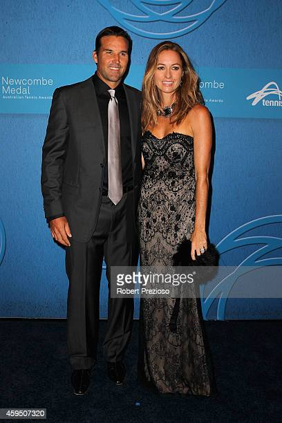 Pat Rafter and Lara Rafter arrive at the 2014 Newcombe Medal Awards at Crown Palladium on November 24 2014 in Melbourne Australia