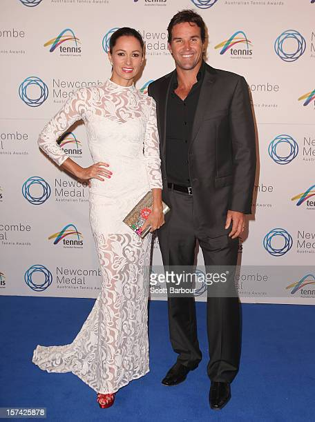 Pat Rafter and wife Lara Feltham arrive ahead of the 2012 John Newcombe Medal at Crown Palladium on December 3 2012 in Melbourne Australia