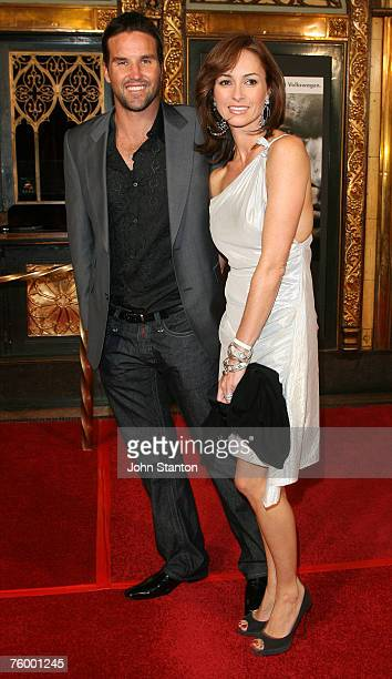 Pat Rafter and wife Lara Feltham attend the Sydney premiere of The Bourne Ultimatum at the State Theatre on August 7 2007 in Sydney Australia