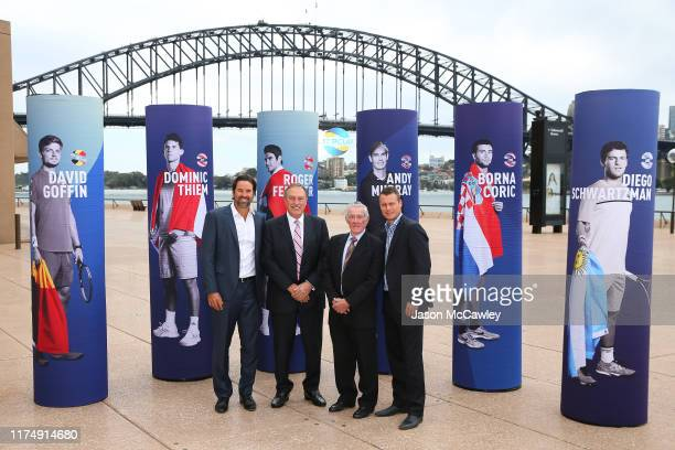 Pat Rafter, John Newcombe, Ken Rosewall and Lleyton Hewitt pose during the 2020 ATP Cup Draw at The Sydney Opera House on September 16, 2019 in...