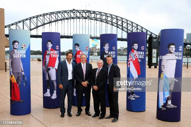 Pat Rafter John Newcombe Ken Rosewall and Lleyton Hewitt pose during the 2020 ATP Cup Draw at The Sydney Opera House on September 16 2019 in Sydney...