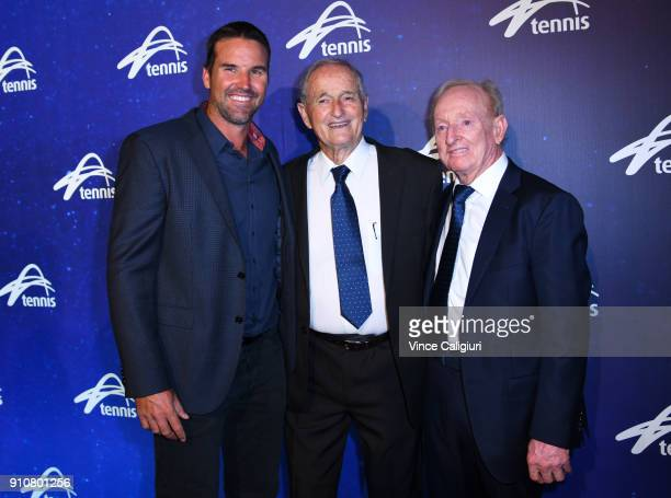 Pat Rafter, Mal Anderson and Rod Laver attend Legends lunch on day 13 of the 2018 Australian Open at Melbourne Park on January 27, 2018 in Melbourne,...