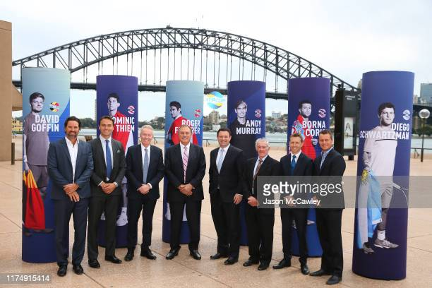 Pat Rafter Ross Hutchins ATP Cup Managing Director and Chief Player Officer Craig Tiley Tennis Australia CEO John Newcombe The Hon Stuart Ayres MP...