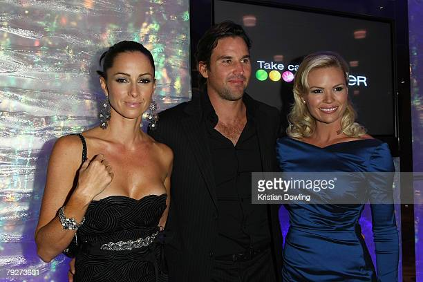 Pat Rafter wife Lara Feltham and TV Personality Sonja Kruger attend the Australian Open Ball 2008 held at the Hyatt Hotel on January 26 2008 in...