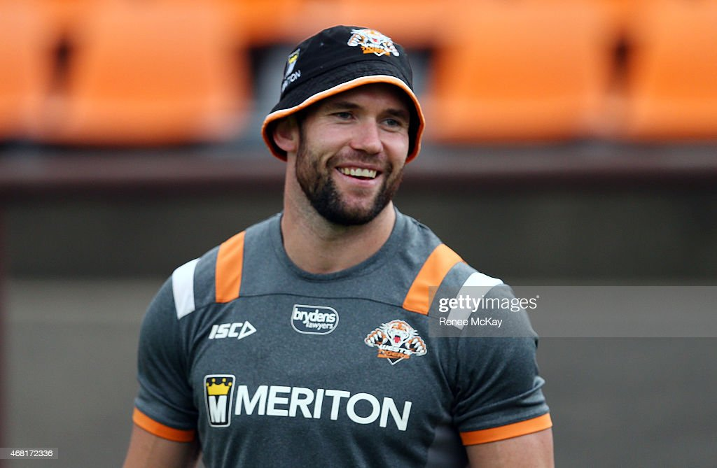 Pat Richards smiles during a Wests Tigers NRL training session at Leichhardt Oval on March 31, 2015 in Sydney, Australia.
