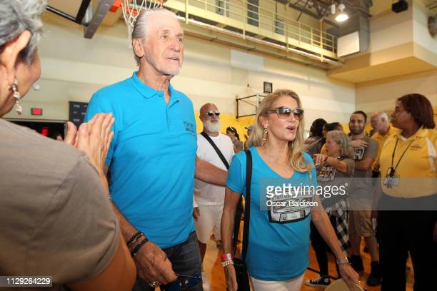 Pat Riley and Chris Rodstrom participate during the Miami Heat Family Festival on March 3 2019 at American Airlines Arena in Miami Florida NOTE TO...